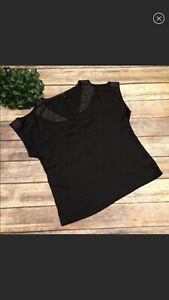 JESSICA-SIMPSON-black-sparkle-blouse-cold-shoulder-Womans-Size-Large