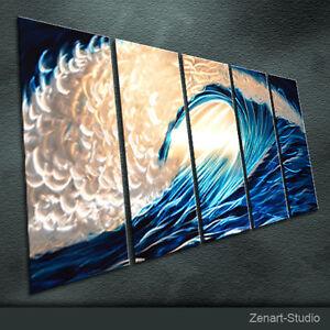 Abstract-Metal-Wall-Art-Modern-Original-Blue-Silver-Indoor-Outdoor-Decor-Zenart