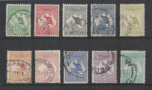 1913-Australia-Roo-first-wmk-fine-used-SG-1-11-nice-short-set-to-1-emerald