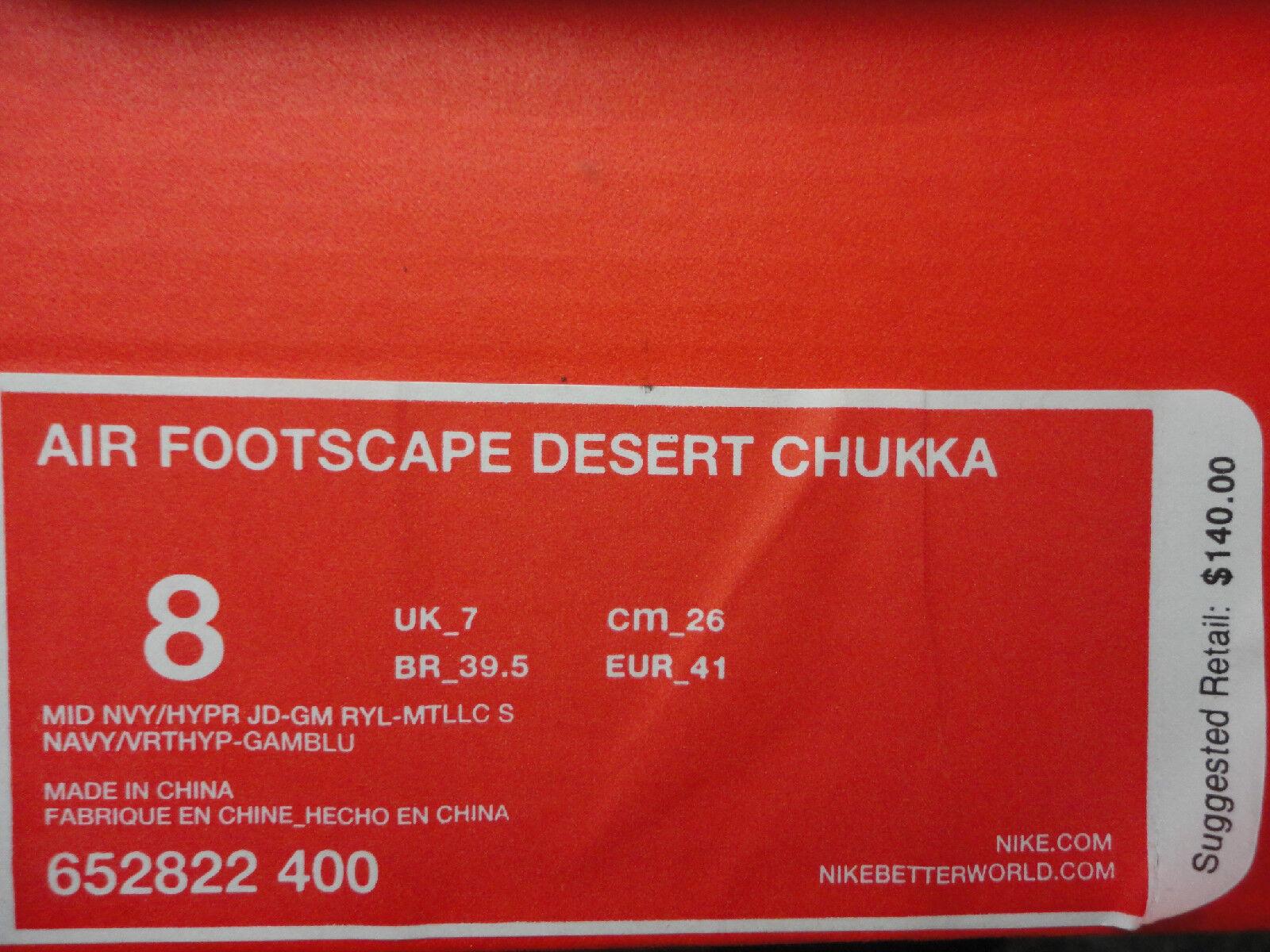 Nike Air Footscape Desert Chukka, Navy     Hyper Jade   Silver, Woven, Size 8 b9a1e3