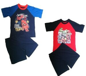 Official-Spider-Man-amp-Avengers-Boys-Shortie-Pyjama-Set-Pyjamas-3-4-5-6-7-8-9-10