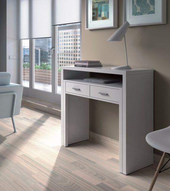 Attirant Ambra White Console Table To Desk   Pull Out Extending Workstation Melamine