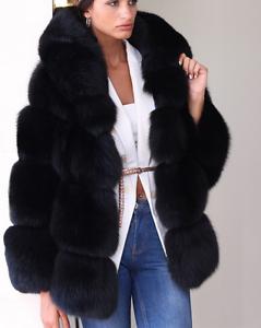Women Fur Coat Hooded Thick Fur Short Winter Warm Jacket Casual Outwear Sbo