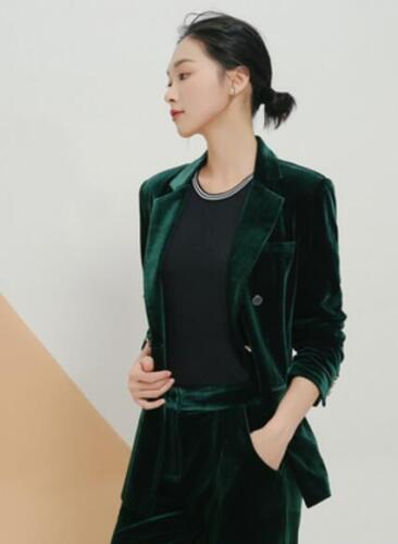 Breasted Coat Double Slim Jacket Kvinders G752 Formal Blazer Lapel Velvet Luksus HBqIg
