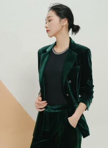 Breasted Coat Formal Kvinders Slim Luksus Blazer Jacket Lapel G752 Double Velvet qnqxCIWAwT
