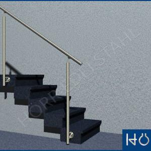 1 25 m edelstahl gel nder treppe gerade handlauf 2 pfosten seitlich montiert ebay. Black Bedroom Furniture Sets. Home Design Ideas