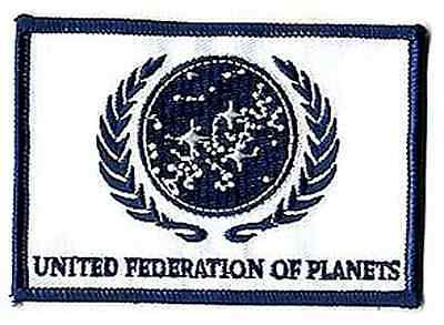 "Star Trek White UFP Flag  4"" Patch- Lincoln Ent- FREE S&H (STPA-UFPW)"