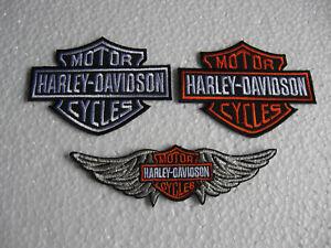 3x-Aufnaeher-Patch-Motorcycles-Harley-Davidson-Racing-Motorradsport-Biker-Race-GT