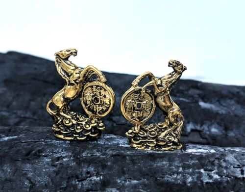 2 Feng Shui Horses I-Ching Money Set Bronze Figurine Statue Amulet Chinese Luck