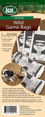 Two Pound Heavy 2 mil thickness 100 count Quality opaque Wild Game Bags One