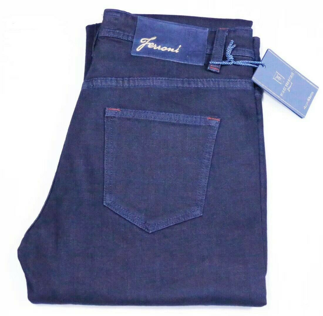 Fonz Ferroni Jeans bluee Best Stretch Cotton bluee  Suede Patch  JFW-8909 Size 34