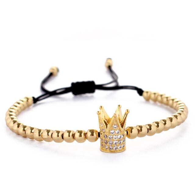 Fashion 18k Gold Plated Cz Crown 4mm Beads Braided Macrame Bracelet For Men