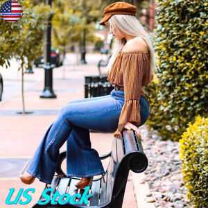 Plus-Size-24-Womens-Vintage-Distressed-Denim-Pants-Flare-Long-Bell-Bottoms-Jeans
