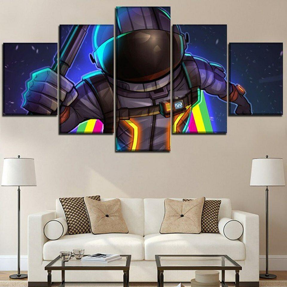 5 Panel Fortnite Spaceman Character Modern Decor Canvas Wall Art HD Print