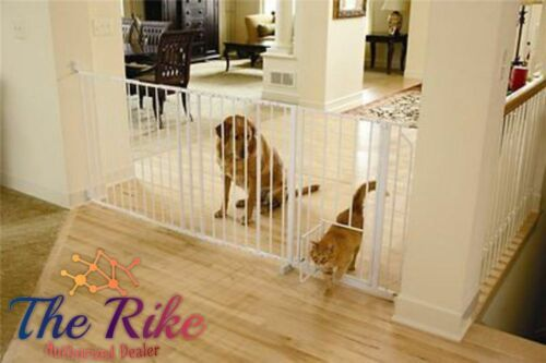 """Walk-Thru Pet Baby Dog Gate 37/"""" to 60/"""" Wide Long Safety Big Strong White New"""