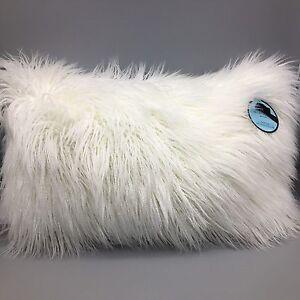 Cynthia Rowley Faux Mongolian Lamb Fur Lumbar Pillow White