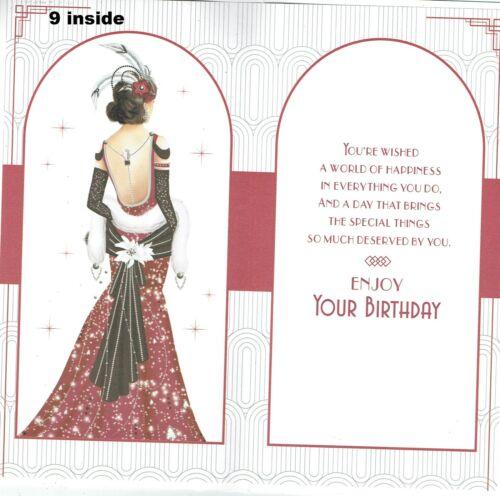 Calidad-Estilo Art Deco-tarjeta de cumpleaños hija Tía Hermana amigo esposa Ect