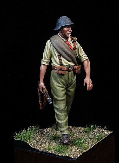 Republic Soldier at Spanish Civil War 54mm 1 32 Tin Painted Toy Soldier   Art