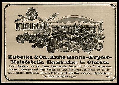 Werbung 1903 Kubelka Hanna-export-malzfabrik Klosterhradisch Olmütz Tschechien