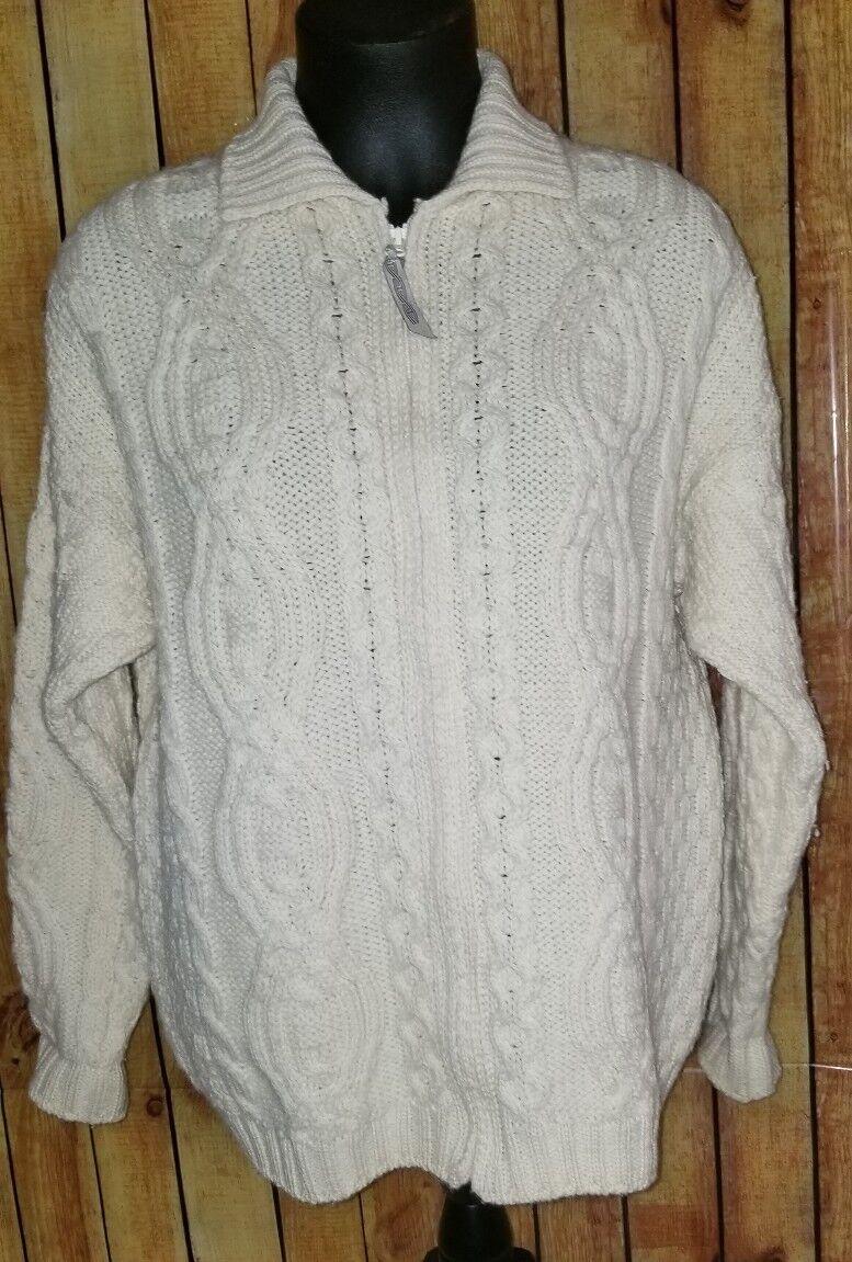 ARANCRAFTS Ireland ivory 100% Merino Wool Cable Knit zipper Cardigan Sweater M