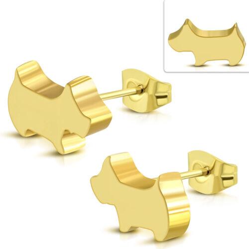 2er Set Edelstahl Ohrstecker Hund Puppy Dog Hündchen gold silber Damen Herren