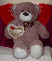 Dan Dee Tan Bear Brown Nose Big Eyes Holding Silver Heart Cute 15 Inch