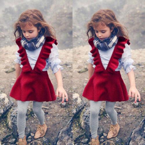 Automne Hiver Enfant Bébé Fille Bébé tricot sans manches à volants Pull Robe Tutu 9