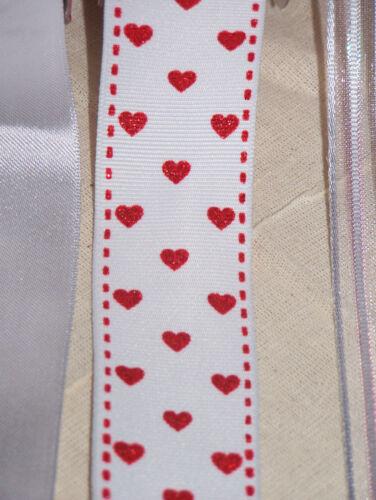 "1m 2m White Wired Edge Ribbon 3.8cm 1.5/"" ribbon Satin Shimmer Balloons Hearts"