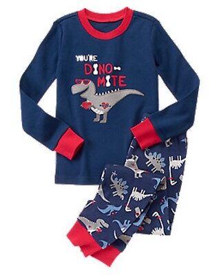 NWT Gymboree Christmas Winter Dino Gymmies Pajama Set Boy Dinosaur shortie