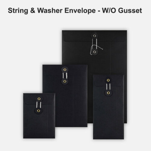 All Size String /& Washer Envelopes Button Tie Black Color Fast/&Free Delivery