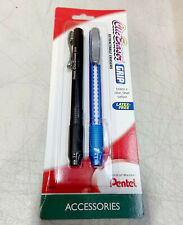 Pentel Clic Eraser Grip 2 Pack Latex Free Retractable Black Blue Ze21bp2mt