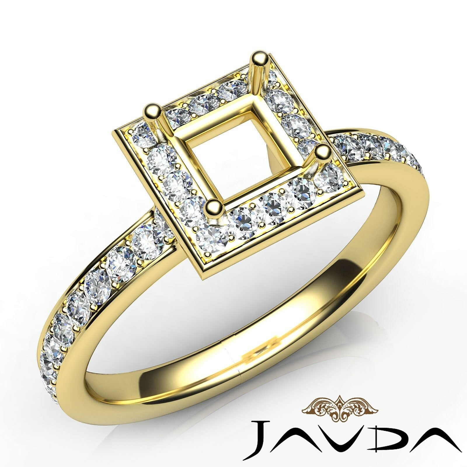 Classic Halo Diamond Engagement Princess Semi Mount 0.45Ct Ring 14k Yellow gold