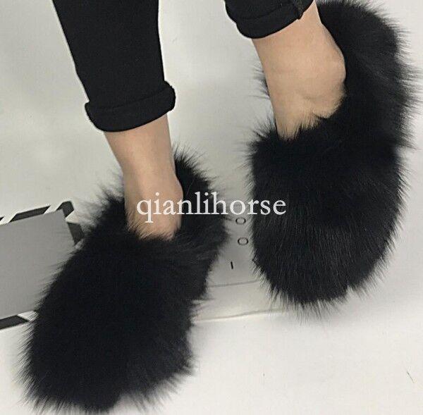 Winter warm warm warm women fox fur ankle boots slip on soft flat heel slippers shoes US13 bf85f4