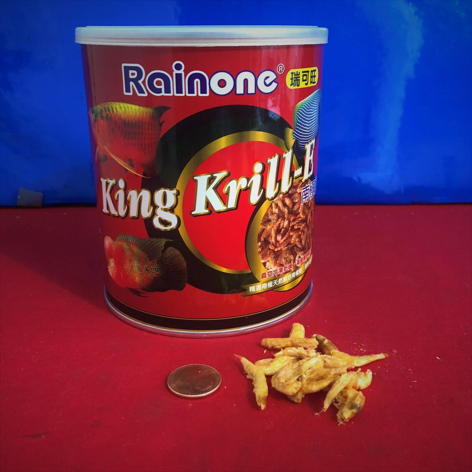 (6) Rainone Freeze Dried King Krill-E For Arowana, Oscar, Giant Gourami 100 gm