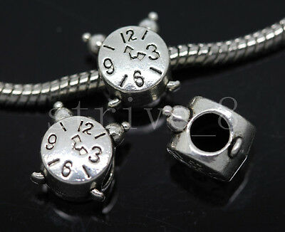 8//30//150pcs Tibetan Silver big Hole  alarm clock  European Jewelry Charms Beads