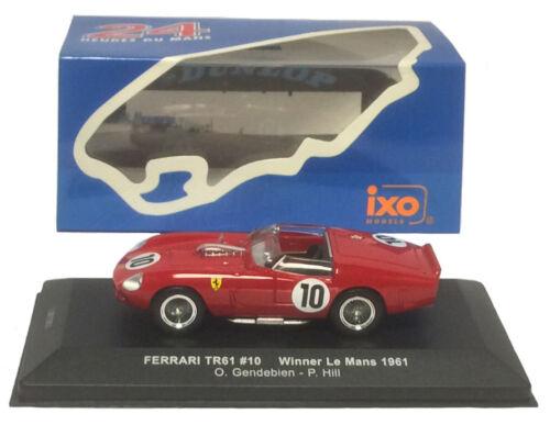 Ixo lm1961 Ferrari Tr61 # 10 Le Mans Winner 1961-gendebien//hill 1//43 Escala