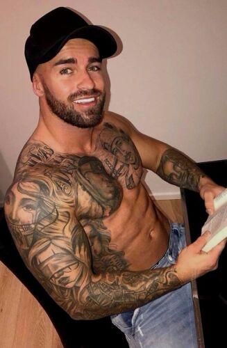 Verzamelingen Shirtless Male Muscular Tattooed Inked Bearded Stud Hunk Dude PHOTO 4X6 D719 Partijen en verzamelingen