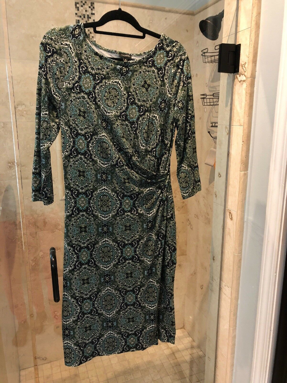 TALBOTS  109 Stretch Medallion Paisley Print Ruched Side Dress M Medium Worn 1x