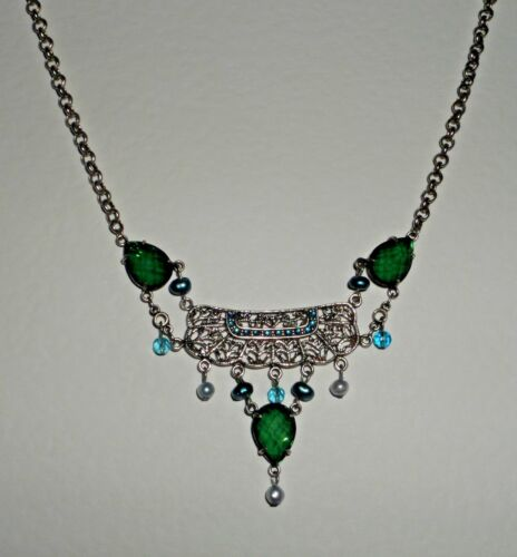 """BEAUTIFUL SILVER PLATED FILIGREE PENDANT NECKLACE GREEN /& BLUE STONES /& FWP 16/"""""""