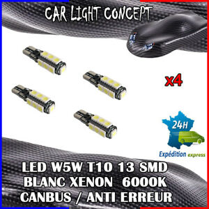 4-x-ampoule-Veilleuse-LED-W5W-T10-13-SMD-BLANC-XENON-6000k-voiture-auto-moto