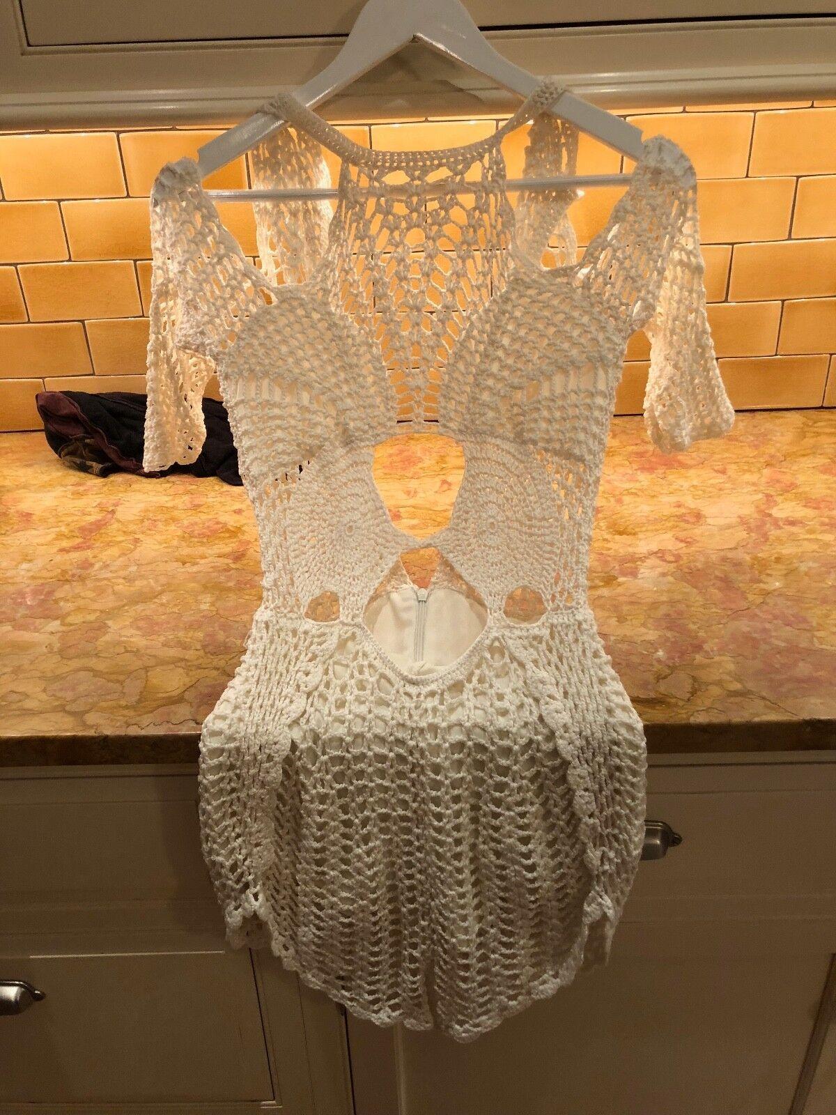 Free People Alice McCall Crocheted Romper Ivory NWOT Women's XS 0