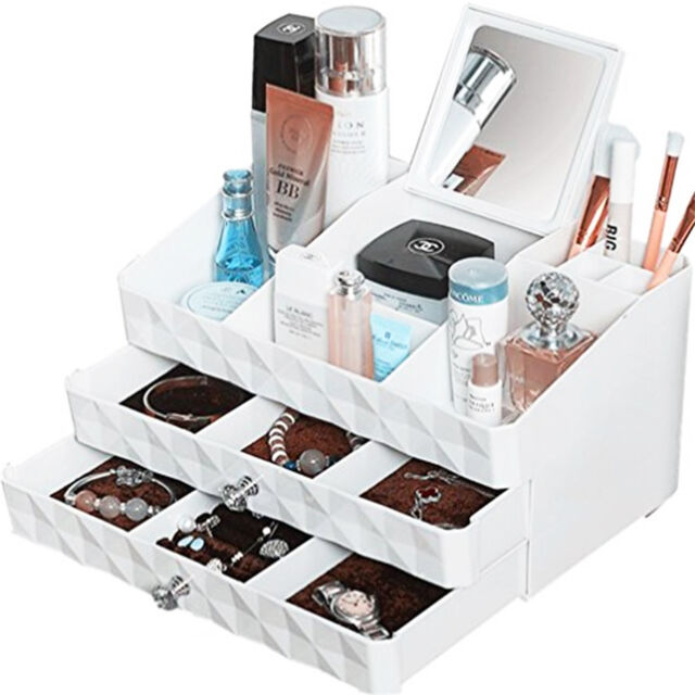 Makeup Organizer Cosmetic Jewelry Storage Case Holder Drawers With Vanity  Mirror