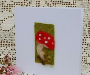 Hecho a mano fieltro de aguja en blanco tarjeta de saludos o imagen a marco-Mushroom