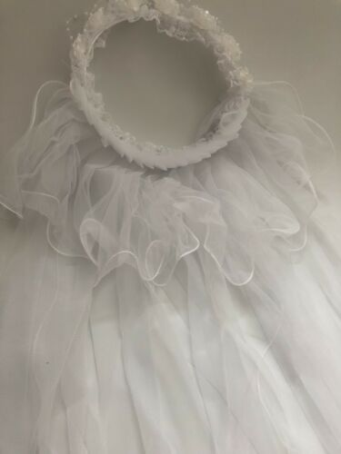 Women Flower Girl Children lace Pure White Wedding Veil Hair Head band Garland