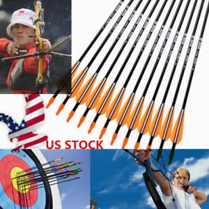 "6PCS Archery Fiberglass Arrows 31/"" Nocks Fletched Arrows for Hunting Bow"