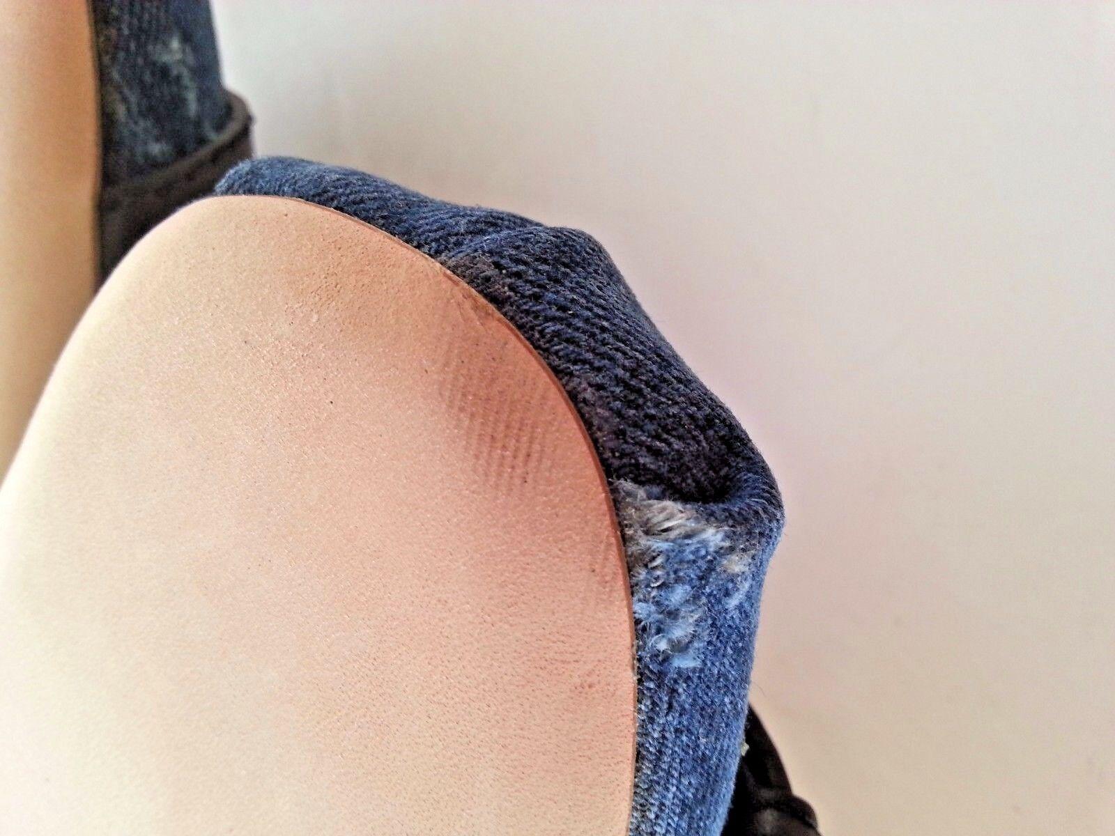 NEW MIU MIU by Prada    Denim Ankle Wrap Ribbon Slide Flats Mules shoes 35.5 5.5US 656a5d