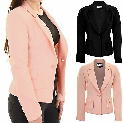 Der GüNstigste Preis Ladies Padded Shoulders Lined Elegant Smart Low V Neck Office Jacket Blazer Neueste Technik