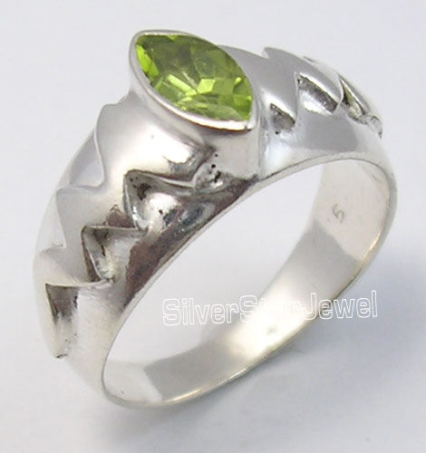 925 Argent Sterling Marquise péridot Dernier Style Sculpté anneau Toute Taille Unisexe