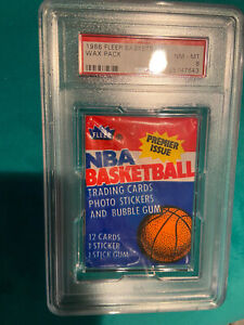 1986 Fleer Basketball Wax Pack PSA 8 with Julius Erving HOF STICKER Jordan?