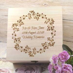 Details About Engraved Wedding Memories Box With Classy Wreath Design Wedding Keepsake Box